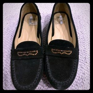 Worn twice suede black studded loafers size 10!